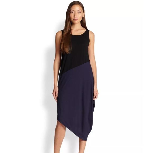 e870ad08dbd2 Eileen Fisher Dresses   Skirts - Eileen Fisher Black Blue Asymmetrical Dress  PP